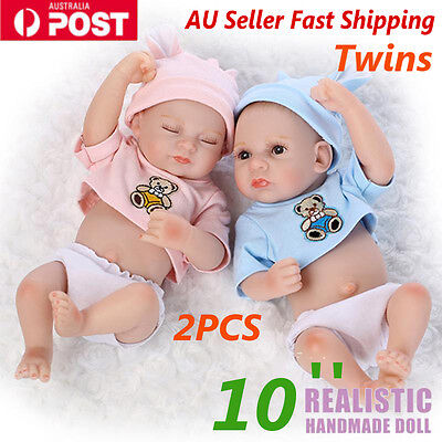 2PCS Handmade Vinyl Silicone Reborn Twins Baby Lifelike Newborn Dolls + Dress