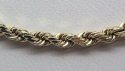 14K Solid Yellow Gold Diamond Cut Rope Chain 30""