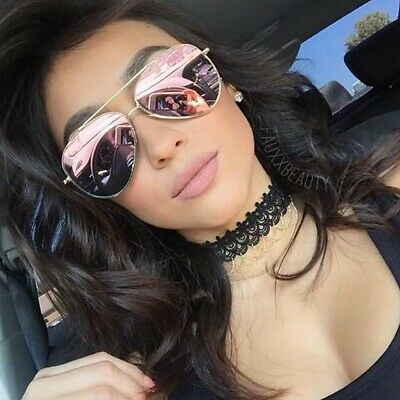 Flat Lens Oversized Aviator Sunglasses Pink Gold Lens Metal Frame Women Fashion