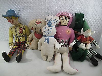 rag doll COLLECTION lot of 6 VINTAGE pillsbury, charlie chocks, DQ dairy queen
