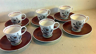 Set of 6 Susie Cooper Bone China England Cup & Saucer Duos Braemar C.2020 (4626)