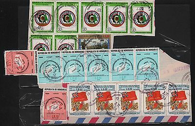 Honduras 1977-1979 Cover Cuts (2) Us Independence Flags Care Food Woods Protect