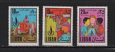 Lebanon 1968 International Year Of Human Rights Flame People Tractor Sc# C578-80
