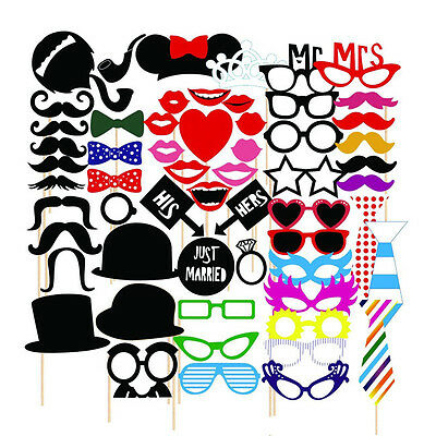 58PC Party Photo Booth Wedding Props On A Stick Masks Moustache Glasses Frame AY
