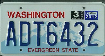 "WASHINGTON passenger 2012 license plate ""ADT6432"" ***NATURAL***"