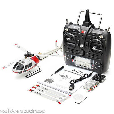XK K123 2.4GHz 6CH Brushless 3-Blade RC Helicopter RTF with 3D and 6G System