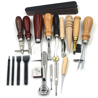 19 Leather Craft Punch Tools Kit Stitching Carving Working Sewing Saddle Groover