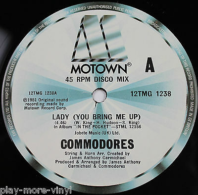 "COMMODORES Lady (You Bring Me Up) 12"" vinyl UK 1981 Motown  Lionel Richie"