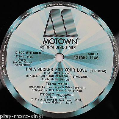 "TEENA MARIE I'm A Sucker For Your Love 12"" vinyl UK 1979 Motown"