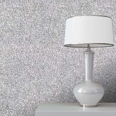 Silver Sparkle Glitter Effect Quality Feature Designer Wallpaper 701352