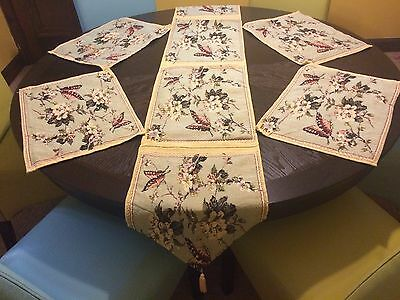 5 Piece Butterfly Floral Spring Tapestry Linen Placemat & Runner Dine Table Set