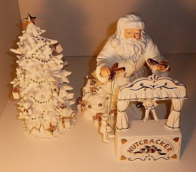 Porcelain Santa & Christmas Tree Display With Miniature Ornaments & Gold Accents