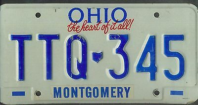 "OHIO passenger license plate ""TTQ 345"" ***MONTGOMERY***"