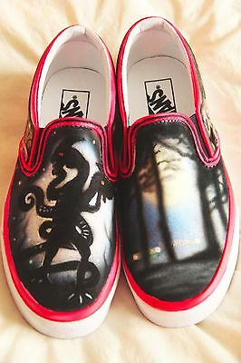 Stranger Things Inspired Custom Airbrushed VANS Slip-On Deck Shoes Gifts Fan Art