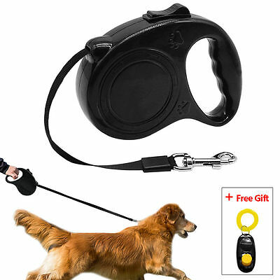 5M Long Cute Paw Print Retractable Dog Lead Leash with Free Cliker Training Dogs