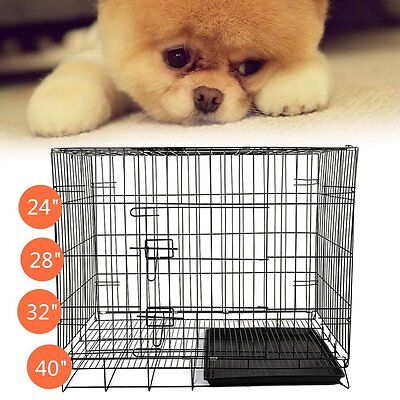Dog Cage Pet Puppy Crate Folding Wire Metal Training Travel Carrier 24/28/32/40