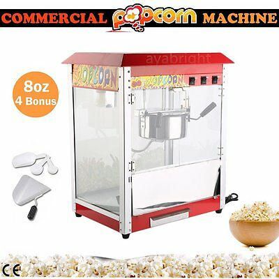 Popcorn Machine Commercial Electric Pop Corn Maker Popper Party Red 8Oz 1400W