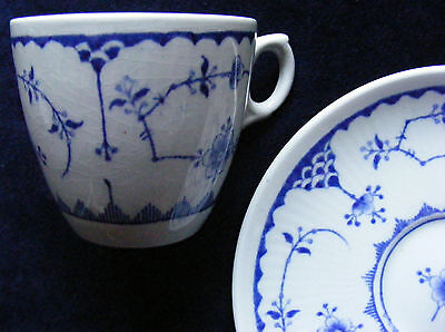 Furnivals Blue and White Denmark Coffee Can and Saucer