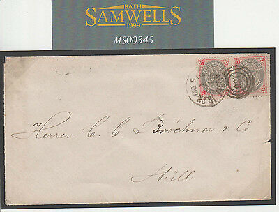 MS345 1881 DENMARK Maritime Mail 40o Rate Fine *136*Duplex Cover GB Hull Yorks