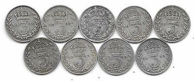Great Britain Edward VII Silver Threepence Coins x 9 Different 1902 - 1910