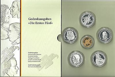 5 DM Gedenkmünzen ,ersten Fünf inkl.Goldmünze ,Collection Repliken in PP Folder