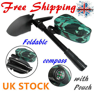 Camping Survival 5 In 1 Shovel Axe Saw Opener Compass Emergency Gear Tools