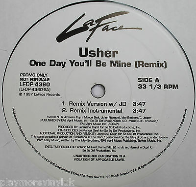 """USHER One Day You'll Be Mine 12"""" PROMO USA 97 LaFace LFDP4360 EXcond  Isley Bros"""