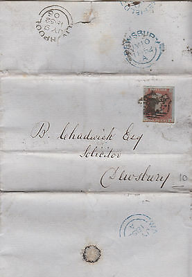 1852 QV LIVERPOOL WRAPPER WITH 1d RED IMPERF STAMP SG8 CAT £30+ SENT TO DEWSBURY