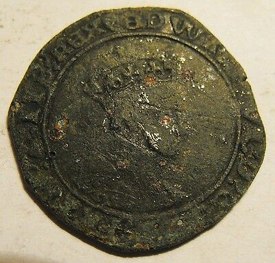 Very rare Edward VI Hammered Irish Shilling Bungal issue of Connacht.Spink 6494A