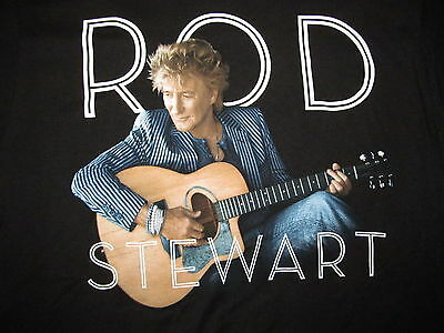 New ROD STEWART w/ Guitar 2014 TOUR Black cotton t-shirt Adult LARGE 19.5 by 29