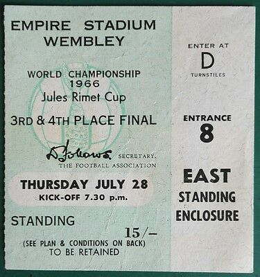 1966 WORLD CUP MATCH TICKET THIRD PLACE FINAL. USSR vs. PORTUGAL. WEMBLEY. (754)