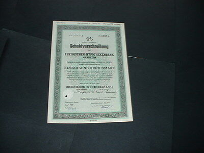Original 1/6/41 Germany/mannheim 1000 Reichmarks /embossed  State Seal