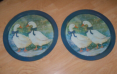 Lot Set of 2 Country Blue Ribbon Winter Snow Geese Goose Metal Tin Serving Trays