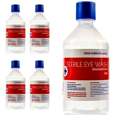 4 x 500ml SALINE Eye Wash & Wound Bottle Sterile Solution Clean Irrigation Set