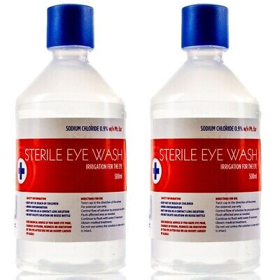 2 x LARGE EYEWASH STERILE SALINE 500ml BOTTLE Eye Wash & Wound Solution Refill