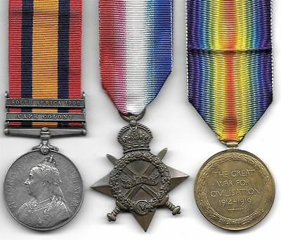 QSA / WW1 Medal Trio Yorkshire Regiment / Army Service Corps to A. BROWN
