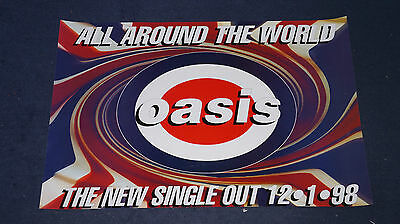 Oasis - All Around The World - Rare Creation Records Union Jack UK Promo Poster