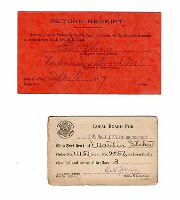 WWI 1917 Draft Board Classification Card and Division Board Return Postcard