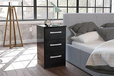 **New Lynx High Gloss 3 Drawer Bedside In 8 Colours,**