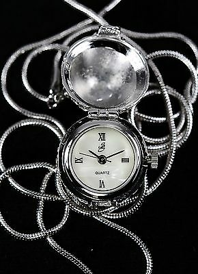 Suzanne Somers Silver Crystal Egg Pendant 29 Chain Necklace Quartz Battery Watch