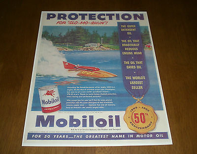 1953 MOBIL GAS MOBIL OIL COLOR AD PRINT  - 1903 - 1953 - 50th ANNIVERSARY