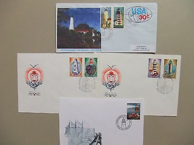 Four LIGHTHOUSE covers:One aerogramme+three fdc