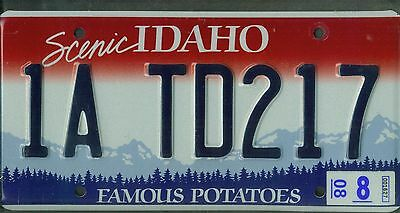 """IDAHO passenger 2008 license plate """"1A TD217"""" ***NATURAL***EMBOSSED***"""