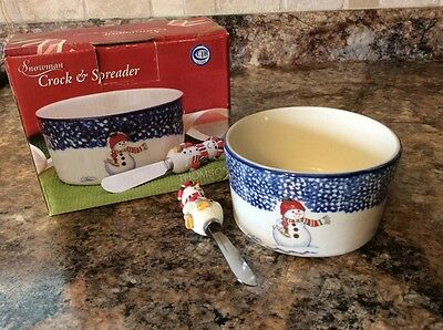 Thomson Pottery China Snowman~Crock & Spreader~New Old Stock~NEVER USED!