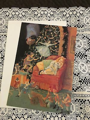 Vintage Greeting Card Christmas Girl Sleeping Toy Soldier Fairy Dream