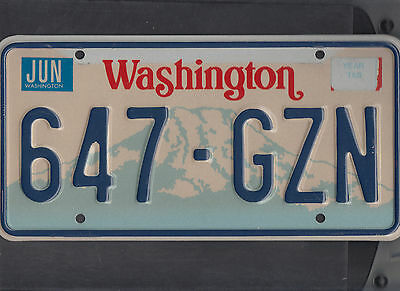 "WASHINGTON passenger license plate ""647-GZN"""