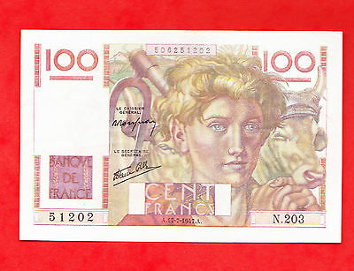 RARE BILLET 100 FRANCS PAYSAN FAVRE GILLY N203 17/07/1947 inventaire FAYETTE