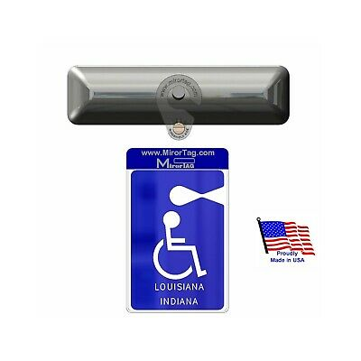 Indiana & Louisiana States Handicap Tag Holder & Protector - ON & OFF in a Snap
