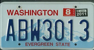 "WASHINGTON passenger 2011 license plate ""ABW3013"" ***NATURAL***"