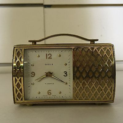 Vintage Semca 7 Jewel Swiss Made Alarm Clock Purse